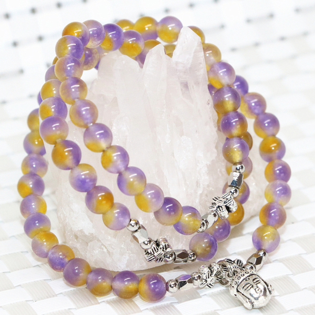 Jade Natural multicolor multicamada pulseiras 6mm rodada contas semi-preciosa jasper pingente buda jóias B2198