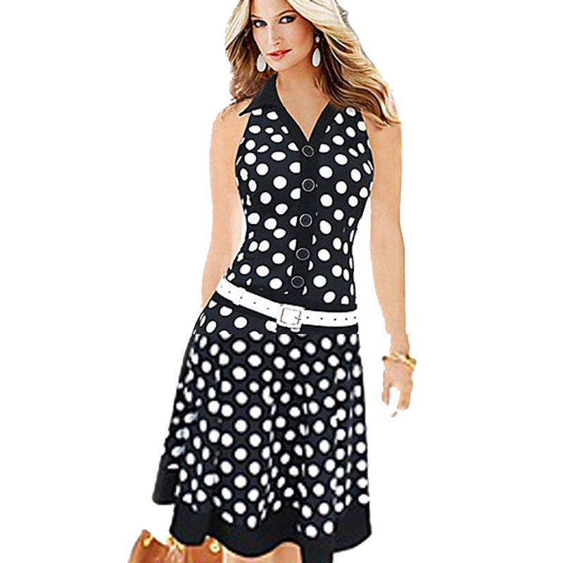 Aamikast Sashes Dot Draped Lady Dresses Fashion Turn-down collar sleeveless Button Streetwear Causal Business Dress