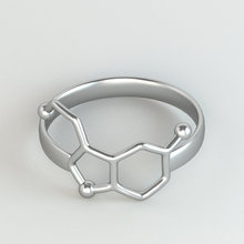 10pcs/lot Gold and Silver Plated Serotonin Molecule Ring  Chemistry Jewelry  Neurotransmitter Science Jewelry  R158