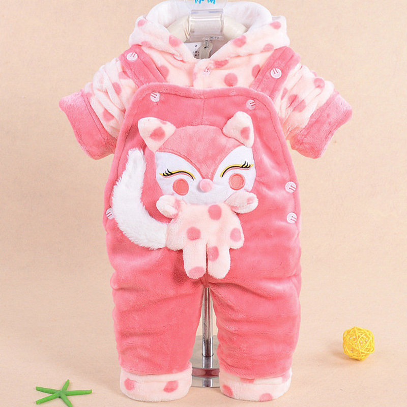 ФОТО Newborn Baby Girl Clothes Sets 2016 Autumn &Winter Infant Hooded Jacket+Pant Jumpsuits Set Long Sleeve Velvet Thick Baby Clothes