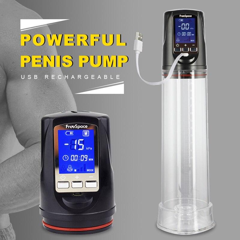 Penis Pump Enlarger White LED Liquid Crystal Powerful Usb Rechargeable Automatic Man Penis Enlargement Enhancer Sex Toys For Men