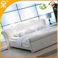 1.5 m 1.8 m blanco cama de cuero dormitorio europea # CE-095