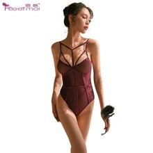 Slim Fit Sexy Teddy Lingerie Hidden Buckle Bodysuit Women Erotic Open Crotch Female Sleepwear Bodysuits
