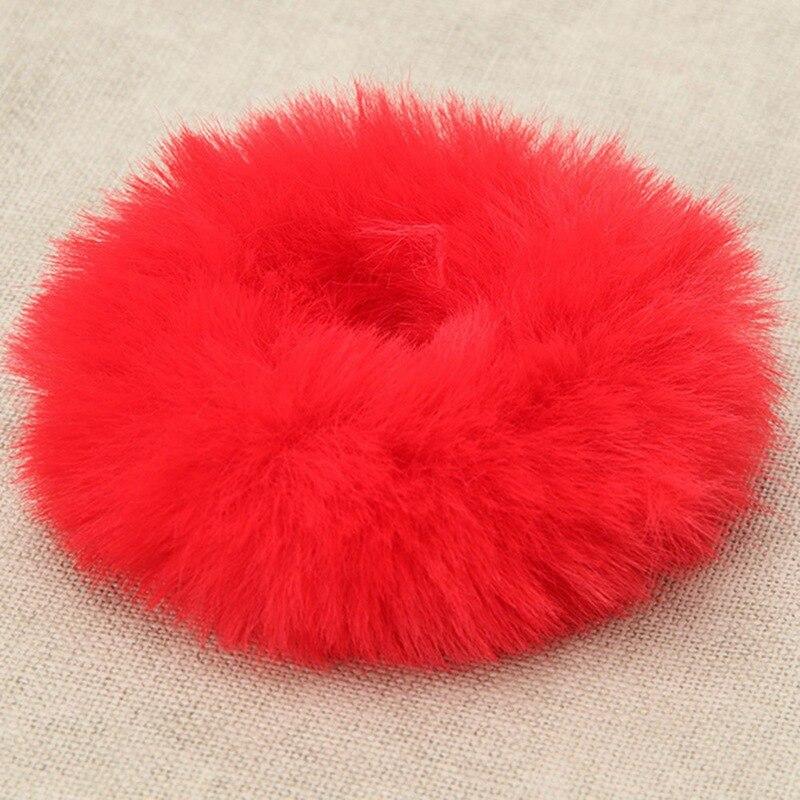 Модная эластичная резинка из искусственного кроличьего меха для девочек, резинка для волос, держатель для хвоста, эластичная плюшевая повязка для волос, кольцо, аксессуары для волос - Цвет: RD