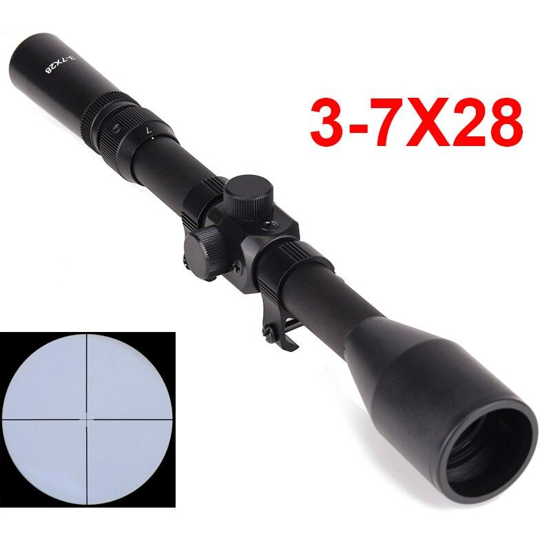 Chasse Optique 3-7x28 Lunette Télescopique Sniper Scope Sight Fusil Étendues D'armes Avec Supports Crosshair Pour En Plein Air Airsoft