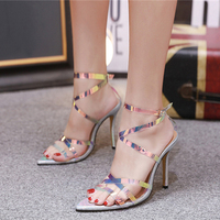 New Luxury Designer Ankle Strap Cross Tied Women Sandals 12cm High Heels Sexy Snakeskin Sandals Lady Fetish Heels Silver Shoes
