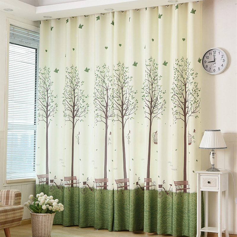 Green Tree Printed Blackout Window Door Curtains for Living Room Bedroom Kids Baby Room Kitchen Home Decorative Curtains Drapes