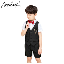 ActhInK 2019 Hot Sale Teen Boys Waistcoat 3Pcs Suit Boys School Black Uniform Kids Formal Wedding Clothes Flower boys Suit