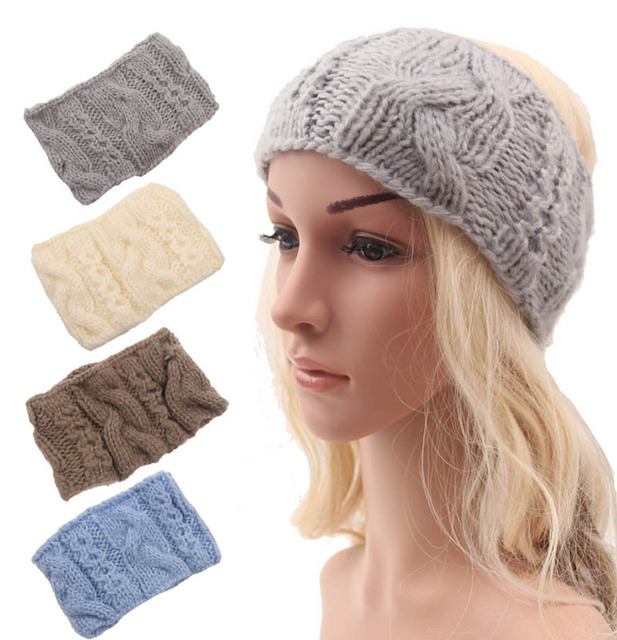 Hippie Headband Knitting Pattern : winter Women Knitted Headband Ear Warmer Headband Turban ...