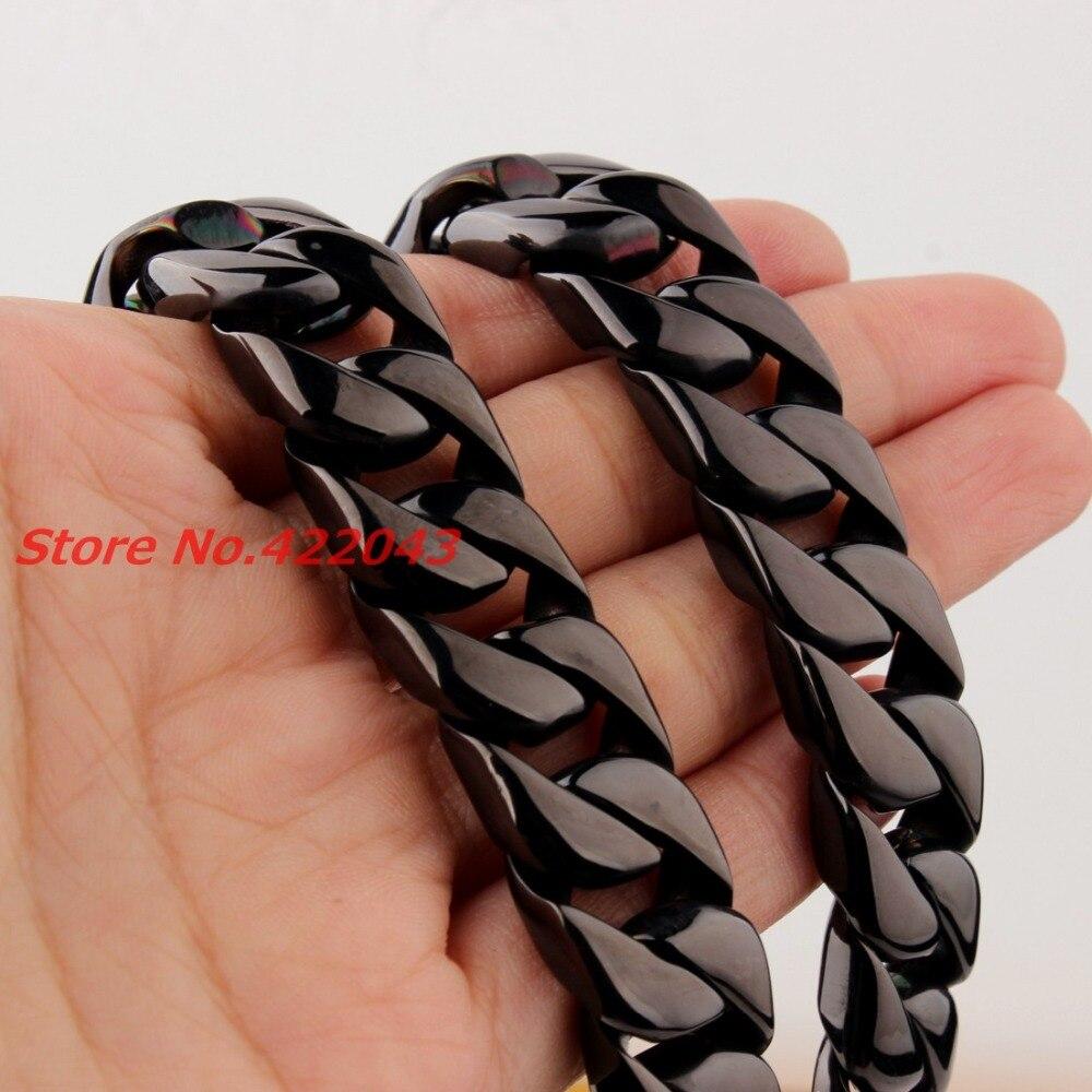 24 15 MM Heavy Cool Zwart Kleur 316L Rvs Mens Curb Cubaanse Collier, Mode sieraden Voor Mens Jongens 203g Keten - 2