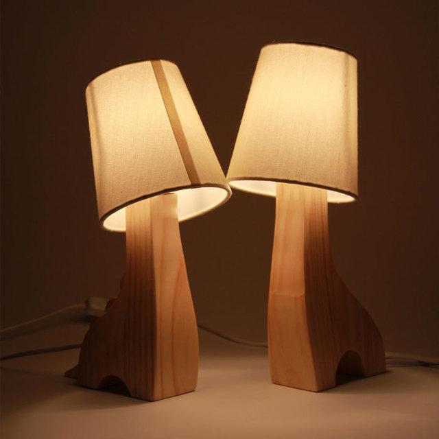 Abajur parágrafo quarto candeeiro de mesa de madeira bonito dos desenhos animados night light abajur lâmpadas de decoração da lâmpada De mesa de Madeira lâmpada de cabeceira
