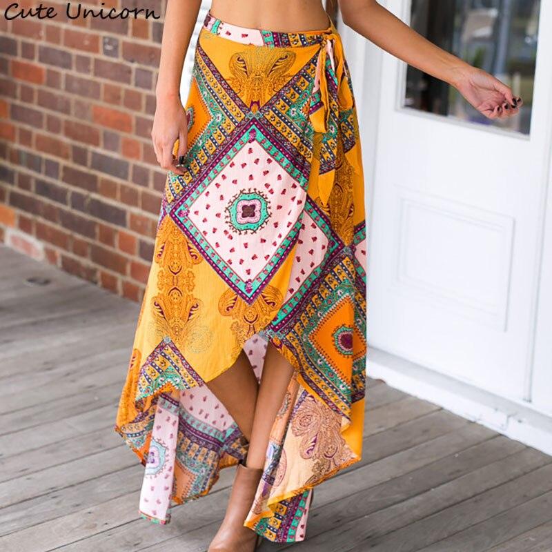 Women beach Skirt Summer Vintage Floral Print Side Slit Wrap Maxi Skirt lace-up Girl Irregular Waist boho Skirts female
