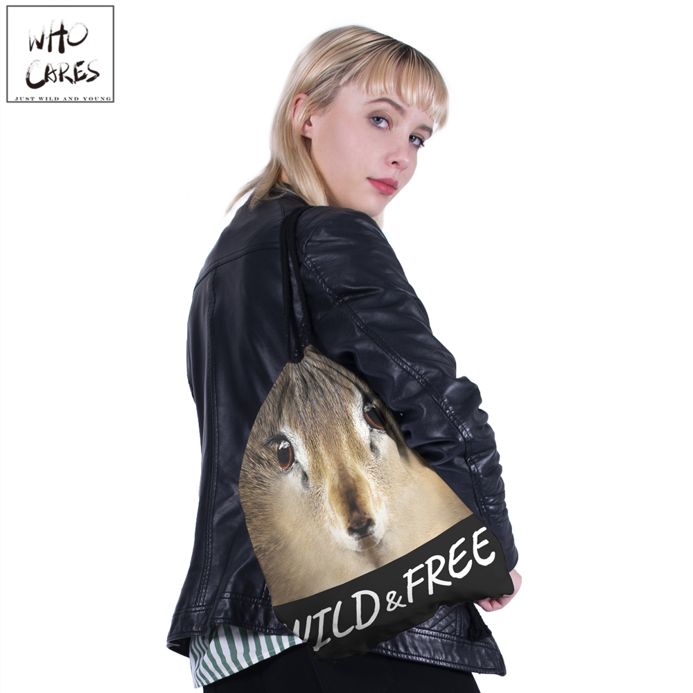 Image 5 - WHO CARES New fashion Backpack squirrel 3D printing travel softback bag drawstring bag Portable backpacks-in Backpacks from Luggage & Bags