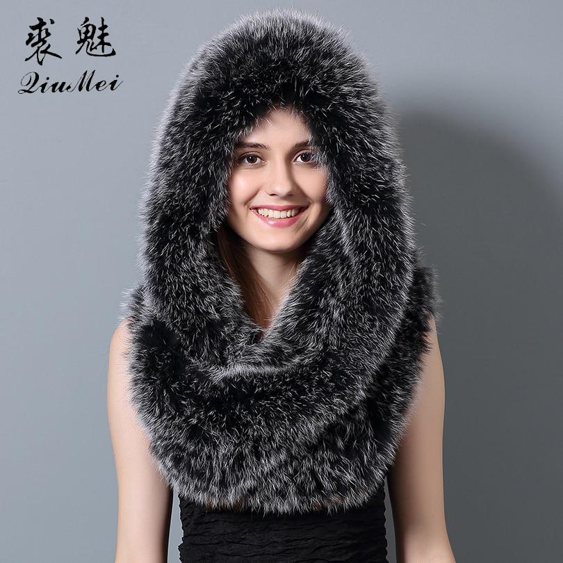 Women Natural Real Fox Fur Scarves Female Shawls Luxury Collar Genuine Fox Fur Scarf Hat Fashion