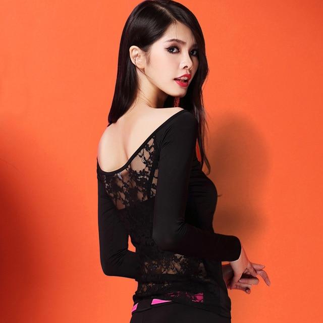 最新のファッションエレガントな社交セクシーなレースラテンダンスの服トップ女性用/femalelady 、長袖 dancewears 衣装 y809