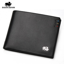 BISON DENIM fashion brand men wallets genuine leather slim bifold ID credit card holder male pocket purse цены