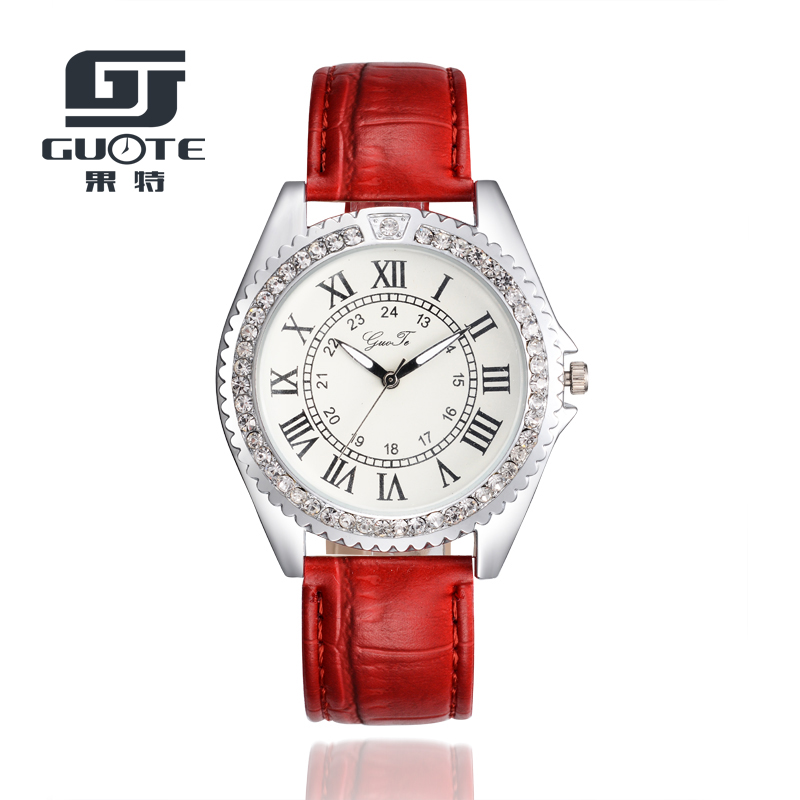 GUOTE New Brand Silver Crystal Roman numerals Casual Quartz Watch Women Leather Strap Dress Watches Relogio Feminino Clock Hot dom men watch top luxury men quartz analog clock leather steel strap watches hours complete calendar relogios masculino m 11 page 4