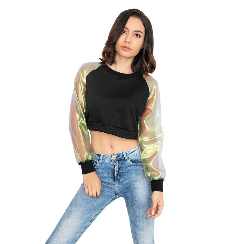 2019 Spring Laser Transparent Long Sleeve Patchwork Crop Top Autumn Harajuku Japanese Style Women T-shirt