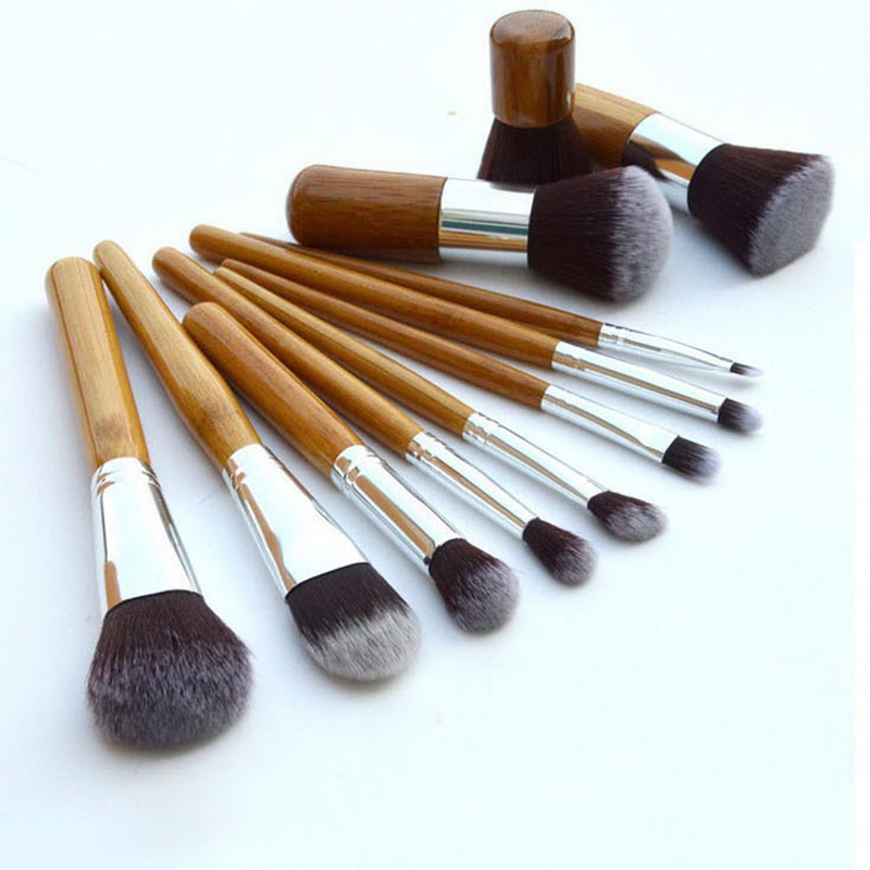 11Pcs/Set Professional Makeup Brushes Kit Bamboo Handle Soft Cosmetic Eyeshadow Foundation Concealer Tools Brush Set With Bag кварцевые часы casio collection mq 24 1b3 black