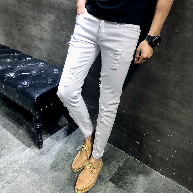2019 Mens new   Jeans   Super Skinny   Jeans   Men Non Ripped Stretch Denim Pants Elastic Waist Big Size Pure cotton White, red   Jeans
