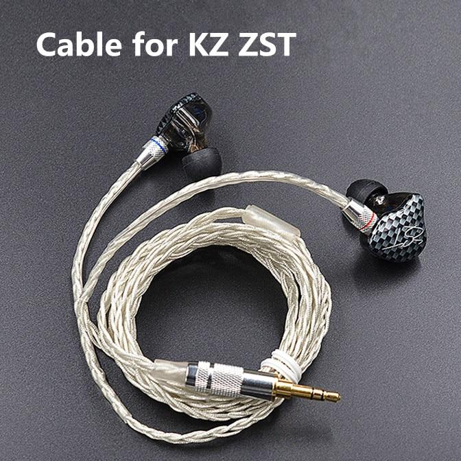 Новейший кабель KZ ZST ED12 2pin 0,75 мм, улучшенный кабель с посеребренным покрытием, улучшенный кабель для наушников, наушники KZ ZST ED12