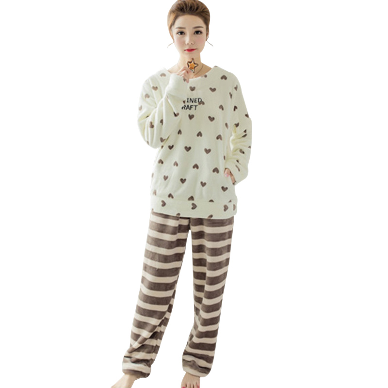 pajamas sets for women ladies love/bear print animals Pyjamas Long Fleece Sleepwear homewear stripe fashion Loungewear