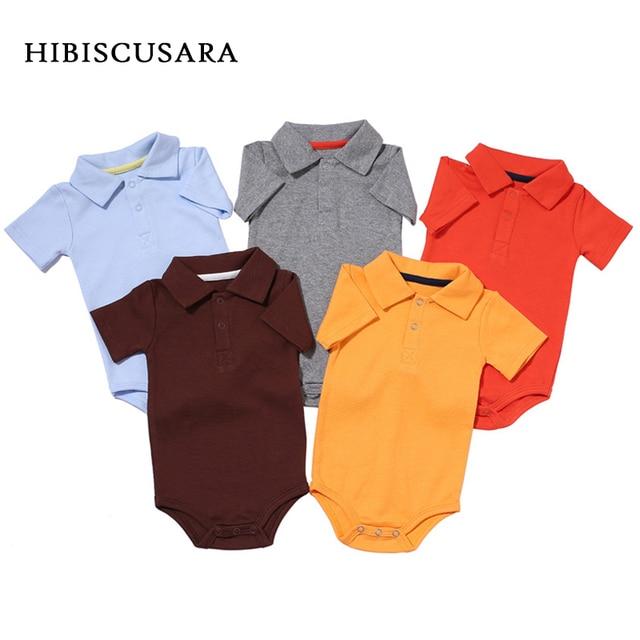 Zomer Baby Boy Meisje Rompertjes Turn-down Kraag Pasgeboren Katoen Kleding Jumpsuit Voor 0-2Y Peuters Bebe Outfits