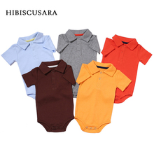 Summer Baby Boy Girl Rompers Turn-down Collar Infant Newborn Cotton Clothes Jumpsuit For 0-2Y Toddlers Bebe Outfits cheap HIBISCUSARA Solid Unisex Short HY00448 Fits true to size take your normal size Covered Button 100 Cotton Solid Color Newborn Baby Cotton Turn-down Collar Rompers Jumpsuit