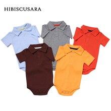 Летние Комбинезоны для маленьких мальчиков и девочек, хлопковая одежда с отложным воротником для новорожденных, комбинезон для От 0 до 2 лет, одежда для детей ясельного возраста