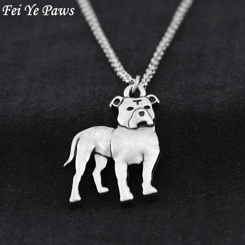 Fei Ye Paws Retro Paslanmaz Çelik Uzun Zincir Disket Kulaklar Pit Bull Staffordshire Bull Terrier Köpek Charm Kolye Kolye Kadınlar