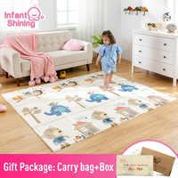 Infantil Brilhando Mat Bebê Portátil Dobrável Bebê Escalada Pad Esteira Do Jogo Do Bebê Jogo Cobertor Almofada de Espuma XPE Insípido