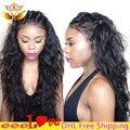 100 Remy Indiano Laço Do Cabelo Humano Completo Perucas Lacefront Virgem 7a perucas para As Mulheres Negras Perucas de Cabelo Humano Cor Natural Emaranhado Livre 7a