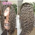Brasileira Cheia Do Laço perucas de cabelo humano Glueless parte dianteira Do Laço do cabelo Humano peruca com o cabelo do bebê kinky curly peruca dianteira do laço para o preto mulheres