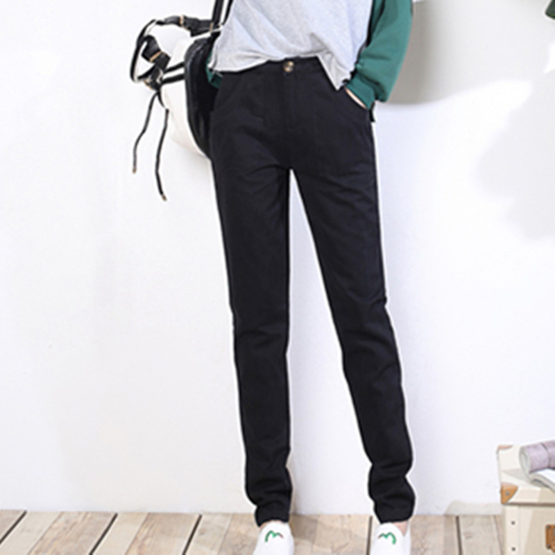 Spring autumn new leisure trousers female Korean Edition loose and thin fashion pure cotton small feet big pocket   pants     capris