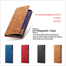 A750 A530 Flip Leather Case for Samsung A6 A7 A8 2018 Luxury Cover Galaxy A 8 7 6 Full Wallet Card Photo Shell Stand Hoesje
