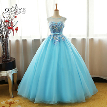 New Real Photo Ice Blue Long Prom Dresses 2018 Elegant Beaded Neck 3D  Floral Lace Floor 3d5cc520dd7b