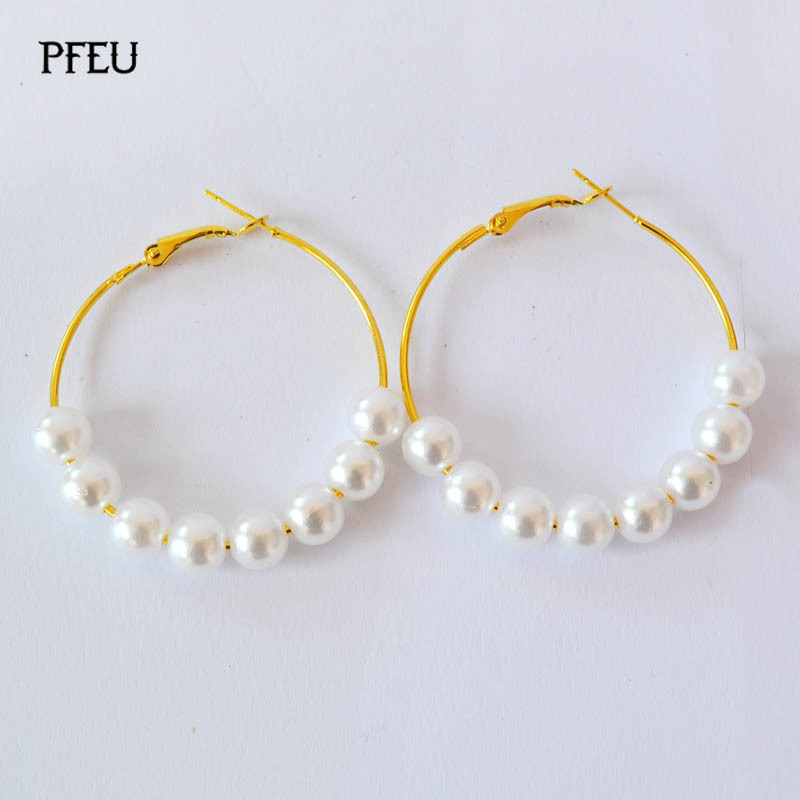 18k Gold Hoops Earrings Basketball Yellow Circle Pearl For Women Fashions Fine Jewelry In Hoop From Accessories On