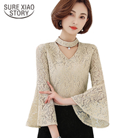 2017 new V-neck flare sleeved women's clothing hollow out lace women blouse shirt plus size casual women tops blusas D23 30