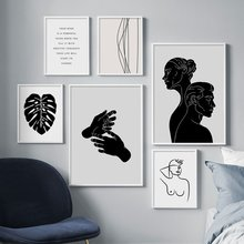 Abstract Woman Line Face Monstera Nordic Posters And Prints Wall Art Canvas Painting Wall Pictures For Living Room Home Decor(China)