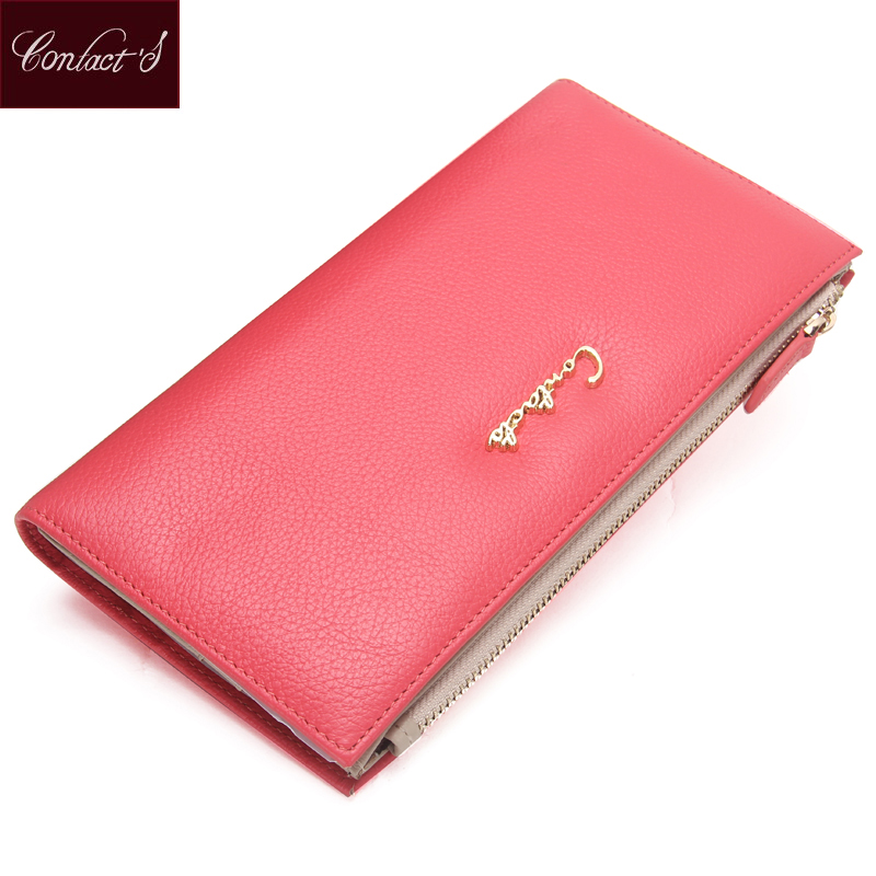 Spring Colorful Genuine Leather Womans Clutch Versatile Handbag Female Coin Purse Long Zipper And Hasp Card Holder Phone Pocket