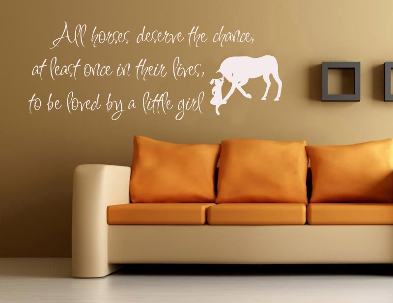 Horses loved by little Girls Vinyl Wall Art Words Decals Stickers Decor Western