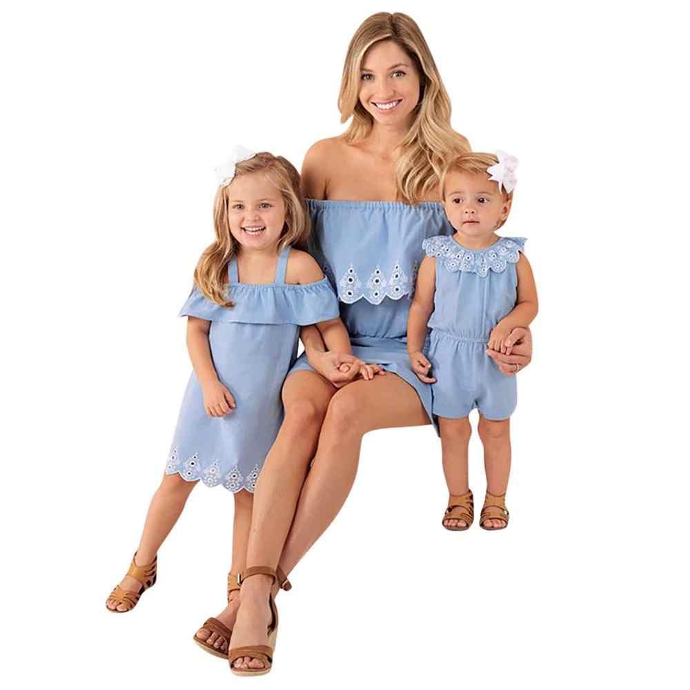 2019 แม่ลูกสาวครอบครัวเกม Denim Playsuit ผู้หญิงสบายๆฤดูร้อน overalls Playsuit พรรค Jumpsuit Romper กางเกงกางเกงขาสั้นสีฟ้า H4