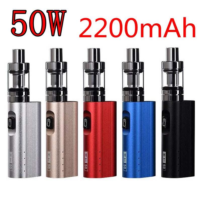 Nueva caja de cigarrillo electrónico vape kit Mod W 50 W batería 2200 mAh electrónica Hookah e kit de cigarrillo