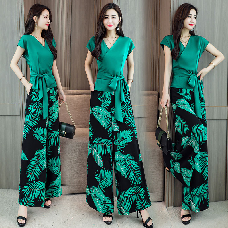 Womens Two Piece Pants Top Sets Fashion Summer Short Sleeve Crop Top and printing Wide Leg Trousers Woman set clothing
