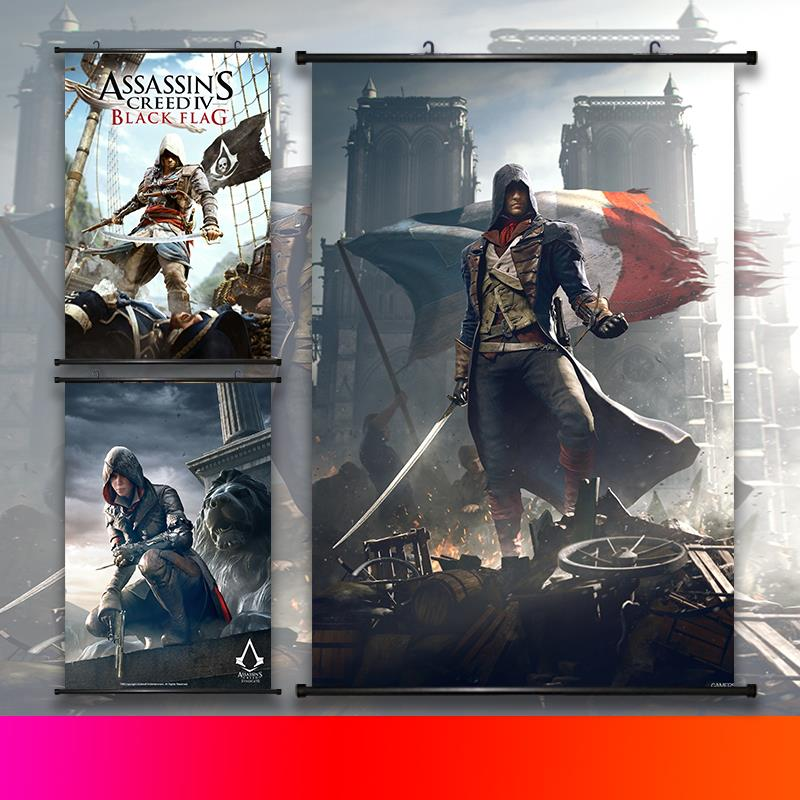 Assassins Creed Star Wars My Hero Academia Scroll Painting Anime Wall Hanging Poster Canvas 22 Styles Home Art Decoration 2