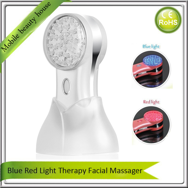 Home Use Travel Use Battery Operated Blue Red Led Light Photon Therapy Anti Acne Wrinkle Skin Firming Facial Beauty Massager portable home use led photon blue green yellow red light therapy beauty device for face and body skin rejuvenation firming