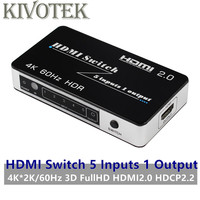 HDMI Switch Switcher Adapter 5x1 4K*2K/60Hz 3D FullHD 1080p HDMI2.0 HDCP2.2 IR RC Control Power Supply For HDTV PC Free Shipping