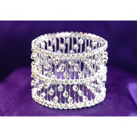 Bridal Wedding Stretch Crystal Bangle Bracelet CB004