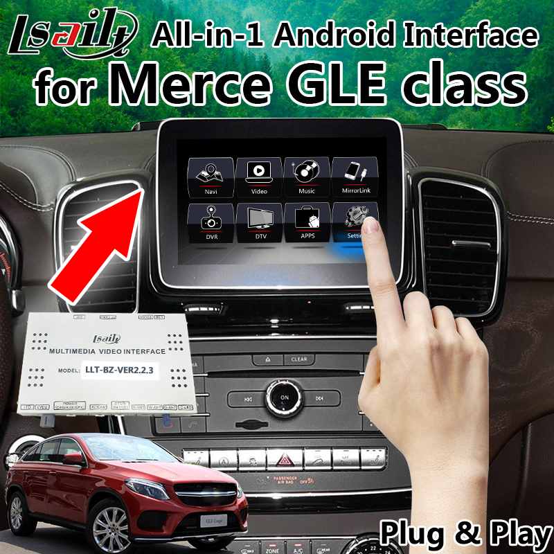 US $467 5 15% OFF|All in 1 Plug and Play Android GPS Navigation Box Video  Interface for Mercedes Benz GLE GLA C class with Mirrorlink Wifi 2USB-in