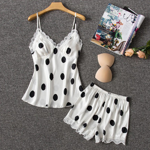 Image 5 - Daeyard משי פיג מה נשים סקסי הלבשה תחתונה Cami ומכנסיים קצרים עם תחרה לקצץ Pyjama Femme מנוקדת פיג מה הלבשת בגדי בית